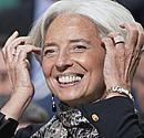 TVF vadov� Christine Lagarde susitikimo Va�ingtone metu.