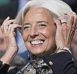 TVF vadovė Christine Lagarde susitikimo Vašingtone metu.