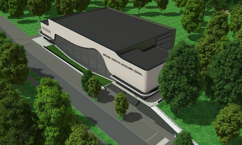 """Naujame Birštono sporto komplekse būtų kultivuojamos įvairios sporto šakos, organizuojami vieši sporto renginiai, vyktų sporto stovyklos, treniruotės. Projekto vizualizacija (UAB """"Tiksli forma"""")."""