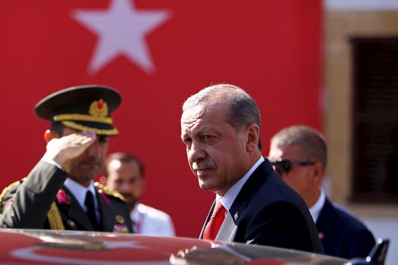 Turkey's President Tayyip Erdogan looks on durin his visit to Northern Cyprus July 20, 2015.  REUTERS/Harun Ukar