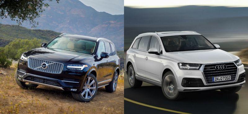 """""""Euro NCAP"""" saugumo ekspertai abu visureigius – ir """"Volvo XC90"""", ir """"Audi Q7"""", – įvertino puikiai, tačiau skirtumų testuose tikrai yra. VŽ nuotraukų koliažas."""