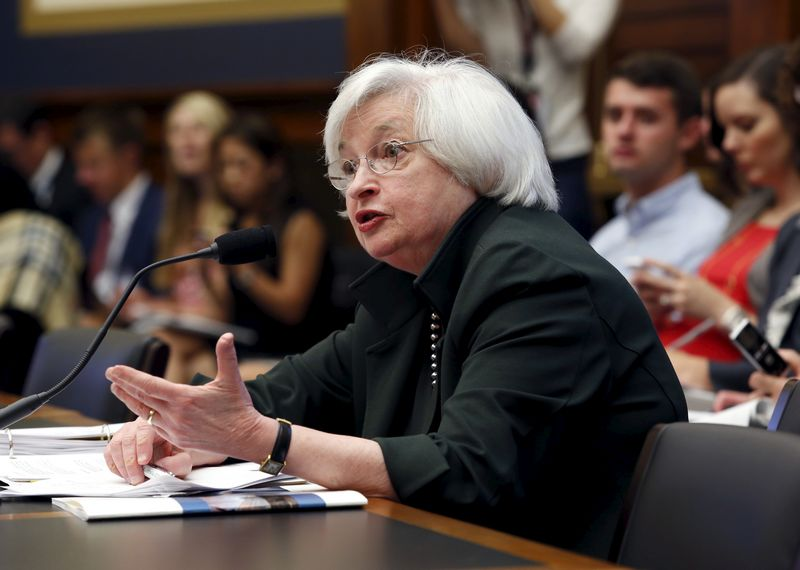 """Federal Reserve Board Chairwoman Janet Yellen testifies before a House Financial Services committee hearing on """"Monetary Policy and the State of the Economy"""" on Capitol Hill in Washington July 15, 2015. REUTERS/Yuri Gripas"""