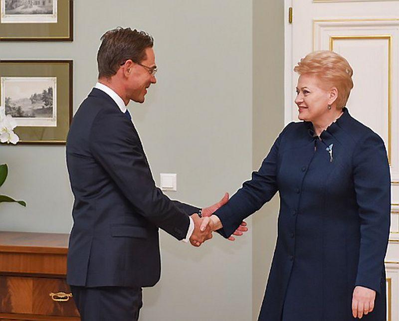 Jyrki Katainenas, EK vicepirmininkas, ir Dalia Grybauskaitė, Lietuvos prezidentė.