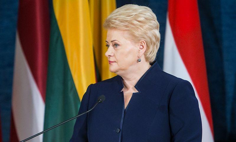 2015 09 03. Vilniuje oficialiai atidarytas NATO pajėgų integravimo vienetas Lietuvoje. Lietuvos Respublikos Prezidentė Dalia Grybauskaitė. Juditos Grigelytės (VŽ) nuotr.