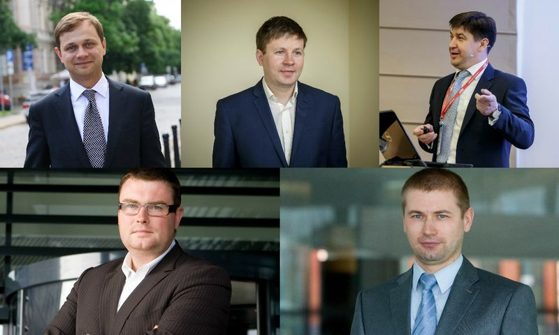 """Iš kairės: Julijus Grigaliūnas, investicinės bankininkystės bendrovės """"Porta Finance"""" partneris, Vytautas Plunksnis, Investuotojų asociacijos valdybos pirmininkas,  Žygintas Mačėnas, investicinės bankininkystės bendrovės """"Summa Advisers"""" vadovas, Marius Dubnikovas, finansų specialistas, Andrejus Rodionovas, """"Swedbank"""" analitikas."""