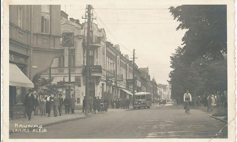 Kauno Laisvės alėja, apie 1938 m. P. Pakulnio fotografija, Kauno IX forto muziejaus fotografija.