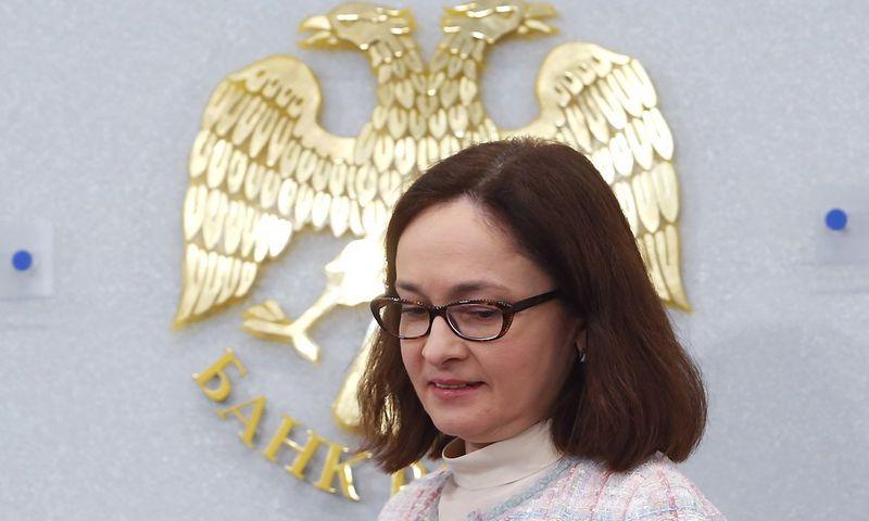 """Investuotojams kelia nerimą politiniai Rusijos sprendimai, taip pat centrinio banko politika. Nuotraukoje – centrinio banko vadovė Elvira Nabiulina. Sergejaus Karpuchino (""""Reuters"""" / """"Scanpix"""") nuotr."""