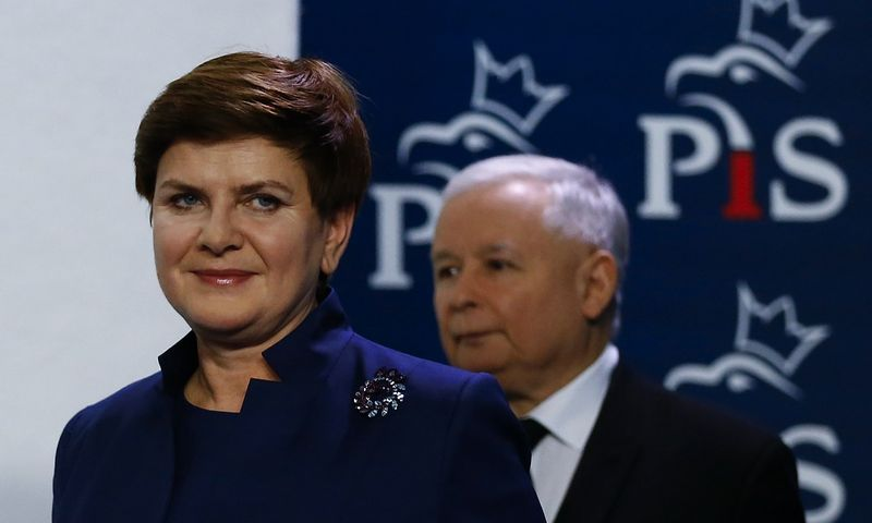 Jaroslaw Kaczynski, leader of Law and Justice (PiS) party and Beata Szydlo, party's candidate for prime minister arrive for a news conference at the headquarters in Warsaw, Poland November 9, 2015. REUTERS/Kacper Pempel