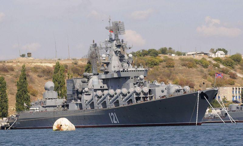 """Rusijos raketinis kreiseris """"Moskva"""". Sergejaus Chuzavkovo (""""AP Photo"""" / """"Scanpix"""") nuotr."""