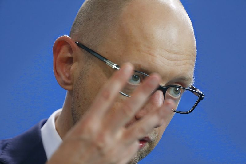 "Arsenijus Jaceniukas. Hannibalo Hanschke (""Reuters"" / ""Scanpix"") nuotr."