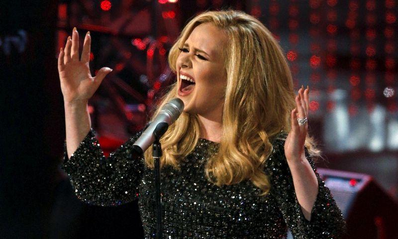 """Dainininkė Adele, prieš keletą metų atsiimdama """"Grammy"""" apdovanojimą, pirmiausia padėkojo visoms pasaulio radijo stotims. Mario Anzuoni (""""Reuters""""/""""Scanpix"""") nuotr."""
