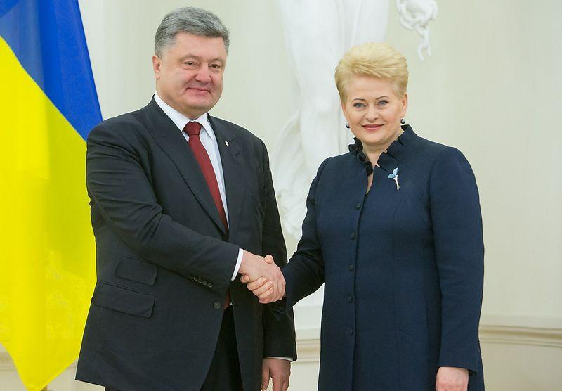 Petro Porošenka, Ukrainos prezidentas, ir Dalia Grybauskaitė, Lietuvos prezidentė. Juditos Grigelytės (VŽ) nuotr.