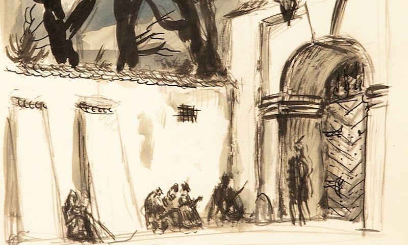 """Mstislavas Dobužinskis (1875–1957). Scenografijos projektas spektakliui """"Radvila Perkūnas"""", 1936. Vilniaus aukciono nuotr."""