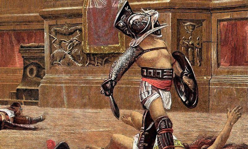 """Gladiatorius laukia žiūrovių nuosprendžio: smogti pralaimėtojui mirtiną smūgį ar palikti jį gyvą? """"Iliustruotojo mokslo"""" nuotr."""