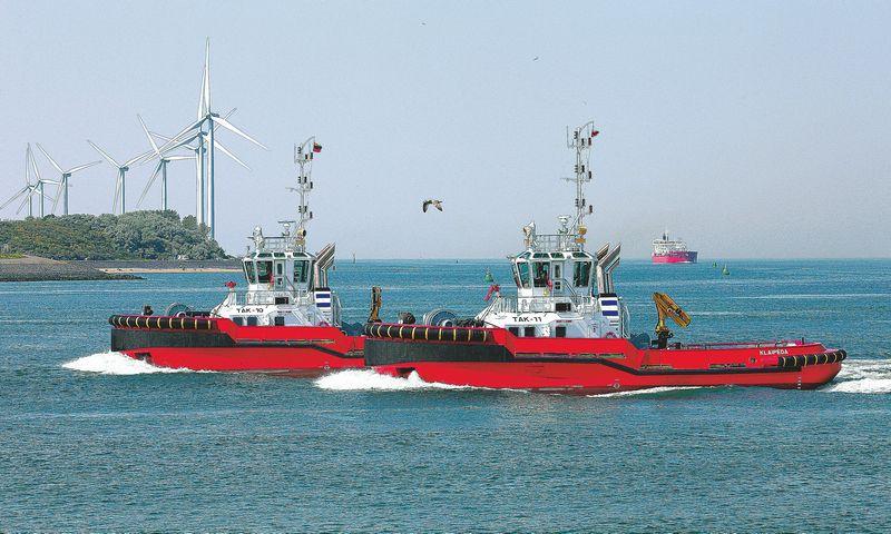 """""""Towmar Baltic"""" investicijas į dviejų naujų jūrinių uosto vilkikų įsigijimą paskatino analogiškas kitos laivų buksyravimo paslaugas Klaipėdos uoste teikiančios kompanijos – KLASSCO filialo """"Klasco Towage Assitance"""" – žingsnis.  Bendrovės nuotr."""