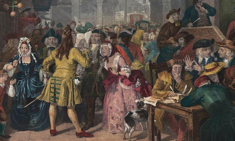 """""""South Sea"""" akcijų kurso burbulą tapybos darbe įamžino dailininkas Edwardas Matthew Wardas. """"Wikimedia Commons"""" nuotr."""