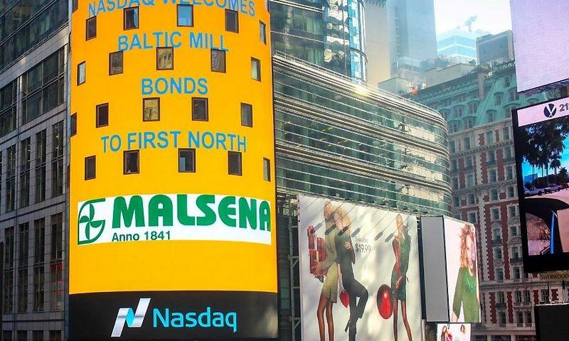"""Kartu su akcijų platinimu pasirodė ir """"Malsenos"""" reklama Niujorke, """"Nasdaq"""" stende."""