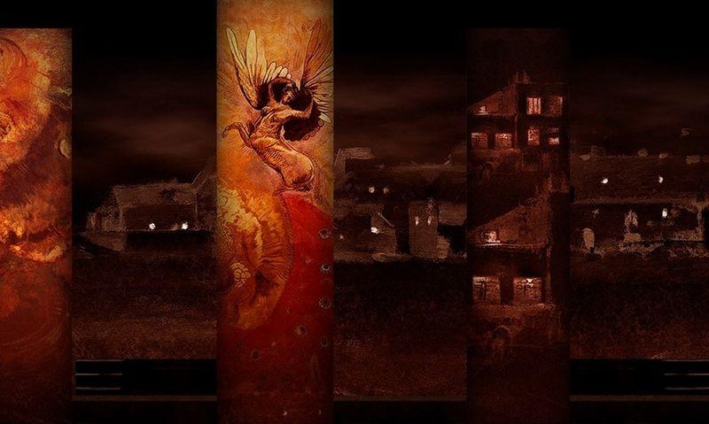 """""""Bohemos"""" projekcijų eskizas, dailininkas Davidas Loomas. LNOBT nuotr."""