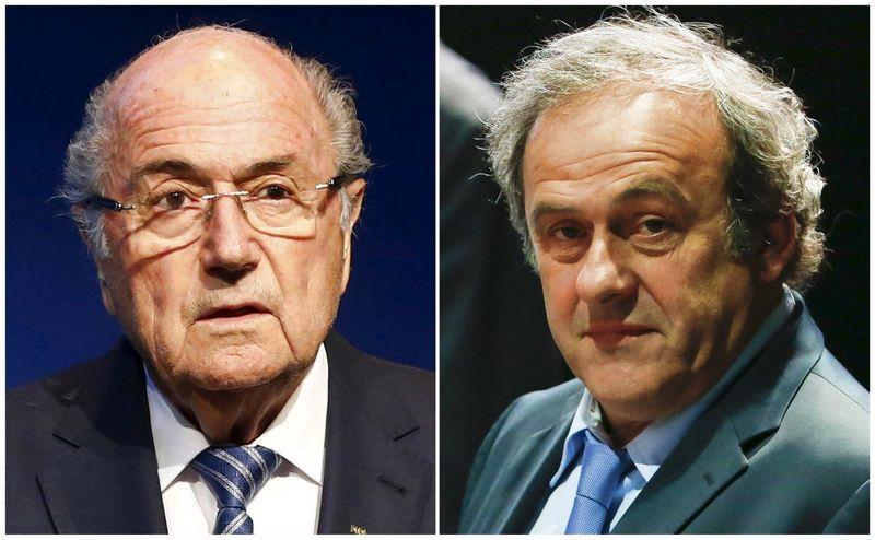 "Iš kairės: Seppas Blatteris ir  Michelis Platini (""Reuters"" / ""Scanpix"") nuotr."