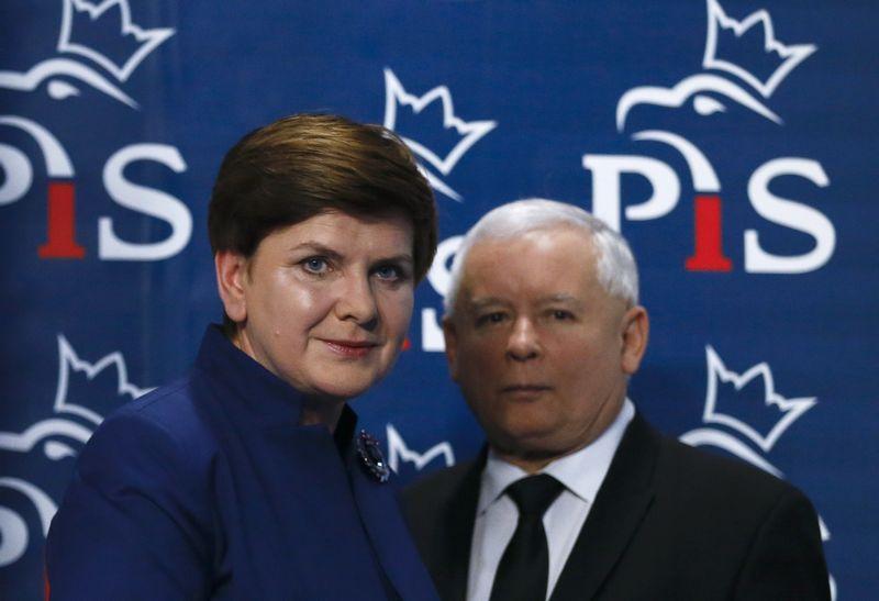"""Jaroslawas Kaczynskis (dešinėje), """"Teisės ir teisingumo"""" lyderis ir Beata Szydlo, Lenkijos premjerė. Kacper Pempel (""""Reuters"""" / """"Scanpix"""") nuotr."""