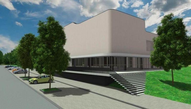Daugiafunkcinis sporto centras statomas tarp Kęstučio ir B. Sruogos gatvių, netoli teniso kortų. Birštono savivaldybės nuotr.