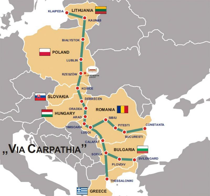 """Planuojamo transporto koridoriaus """"Via Carpatia"""" schema. """"Stanislawozog.pl"""" nuotr."""