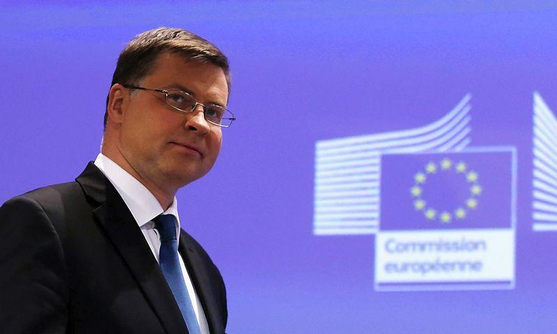 Valdis Dombrovskis, Europos Komisijos pirmininko pavaduotojas, atsakingas už euro ir socialinio dialogo klausimus. Juditos Grigelytės (VŽ) nuotr.