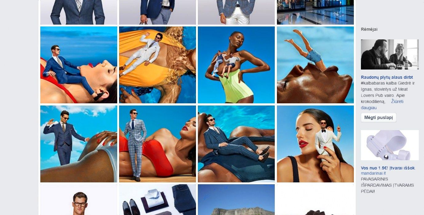 D�mes� patraukusi �Suit Supply� reklama � nutraukta