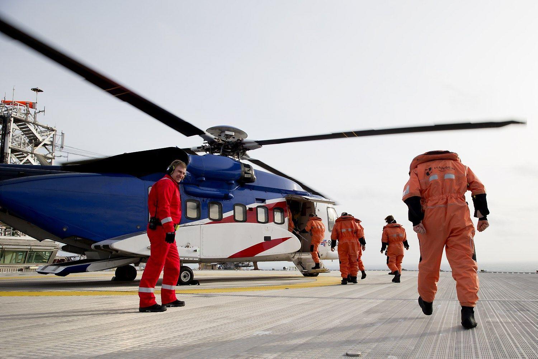 Norvegijoje�sudu�o �naftos platform� skrid�s sraigtasparnis