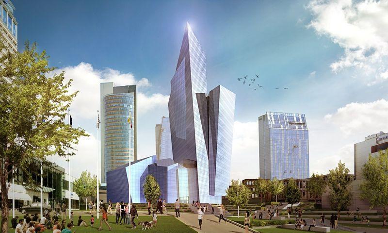 """""""Studio Libeskind"""" projektas turėtų iškilti Konstitucijos pr. tarp Vilniaus universalinės centrinės parduotuvės ir viešbučio """"Radisson SAS Blue""""."""