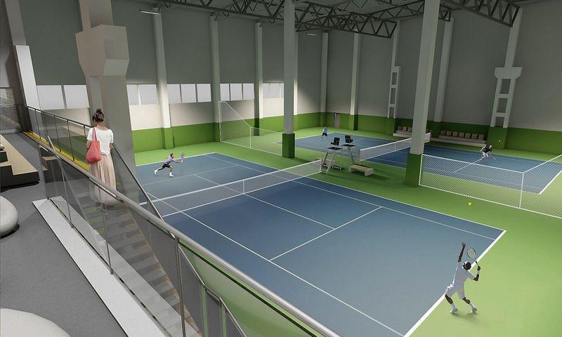"""Žemaitijos sostinėje bus atidarytas sporto centras """"Smešas"""".  """"Archeros"""" vizualizacija."""