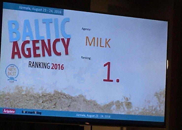 """Geriausia reklamos agentūraBaltijos šalyse– vėl""""Milk"""""""