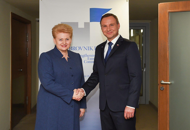 Grybauskait� su Lenkijos prezidentu pasikalb�jo apie saugum�, energetik� ir �Brexit�