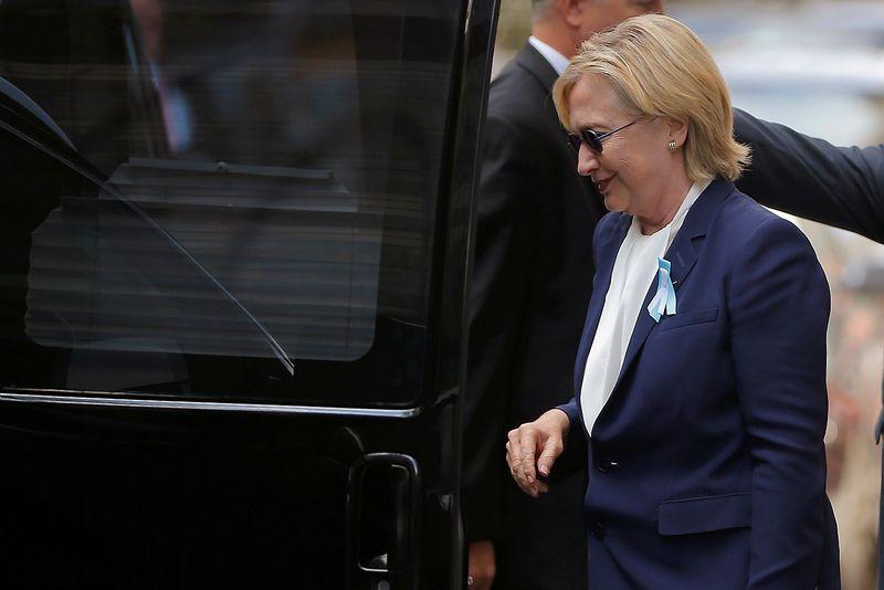 """Demokratų kandidatė į JAV prezidentus Hillary Clinton rugsėjo 11 dieną. Briano Snydero (""""Reuters"""" / """"Scanpix"""") nuotr."""