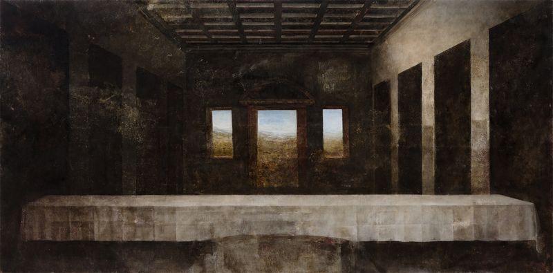"P. Jurkšaitytė. ""Leonardo da Vinci. Paskutinė vakarienė"", drobė, aliejus, 88 x 178 cm, 2014 m., ""Lewben Art Foundation"" kolekcija."