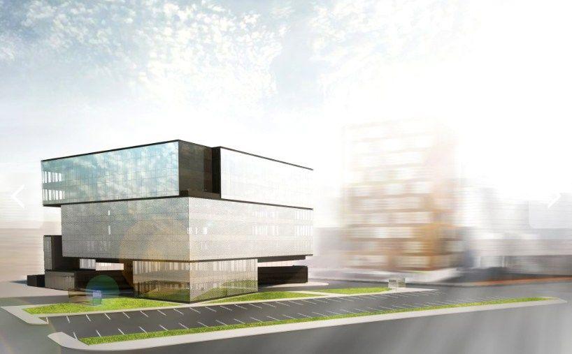 """Pradeda """"Arkos"""" biurų statybas: stiklinis kubas su pėsčiųjų gatve po juo"""