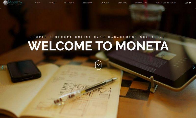 """Moneta International"" internetinis puslapis"