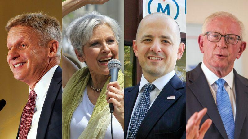 Kandidatai į JAV prezidento postą (iš kairės): Gary Johnsonas, Jill Stein, Evanas McMullinas ir Darrellas Castle'as.