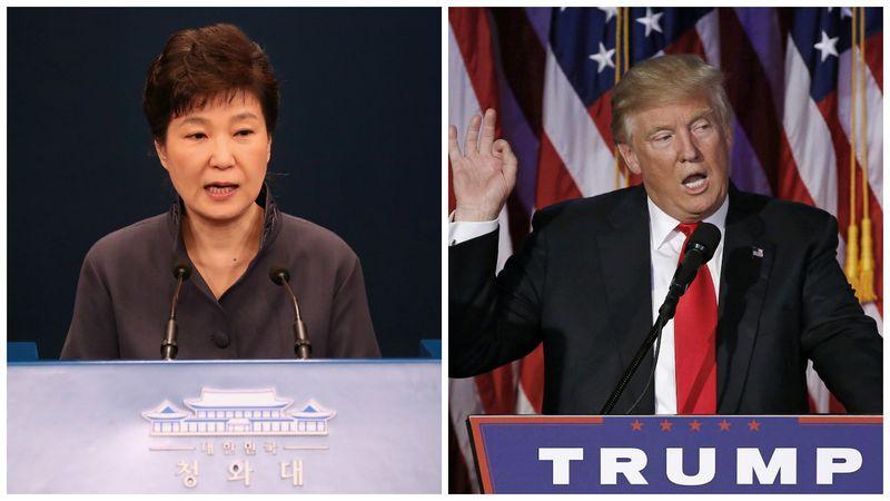 Pietų Korėjos prezidentė Park Geun-hye telefonu kalbėjosi su išrinktuoju JAV prezidentu Donaldu Trumpu. VŽ koliažas