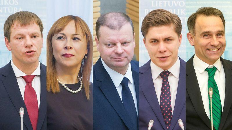 Paskirtieji ministrai. Iš kairės: Vilius Šapoka, finansų ministras, Jurgita Petrauskienė, švietimo ministrė, Saulius Skvernelis, premjeras, Mindaugas Sinkevičius, ūkio ministras, Rokas Masiulis, susisiekimo ministras. VŽ montažas