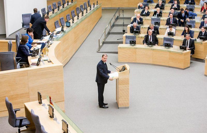 Paskirtasis premjeras Saulius Skvernelis Seimui pristatys savo Vyriausybės darbų programą. Juditos Grigelytės (VŽ) nuotr.