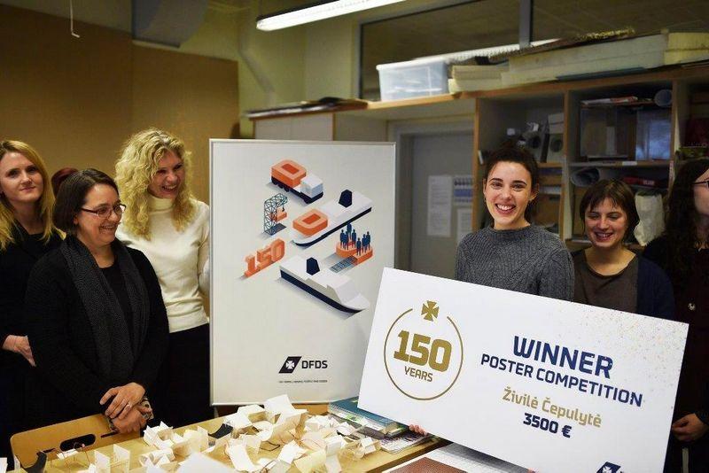 Geriausio DFDS jubiliejui skirto plakato Živilė Čepulytė, Vilniaus dailės akademijos dizaino specialybės trečiakursė. DFDS nuotr.