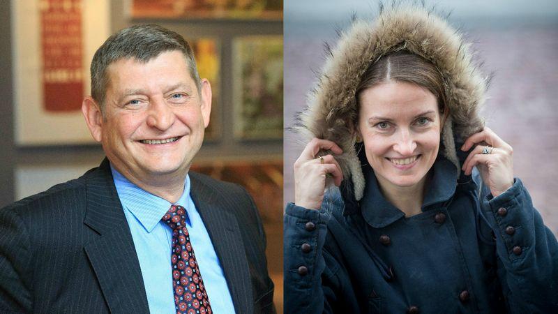 """Alvydas Naujėkas, UAB """"Vėjų spektras"""" direktorius, ir Lina Benetė, UNESCO biuro Kazachstanui, Kirgizijai, Tadžikistanui ir Uzbekistanui Švietimo skyriaus vadovė.   Vladimiro Ivanovo (VŽ) nuotr."""