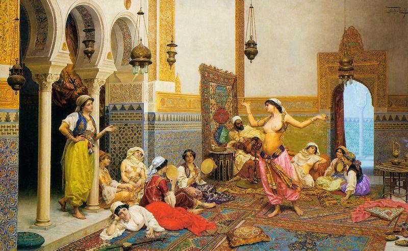 """Giulio Rosati paveikslas """"Haremo šokis""""."""