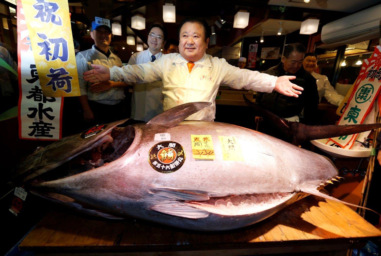 Milžiniškas tunas aukcione Japonijoje parduotas už 604.000 Eur