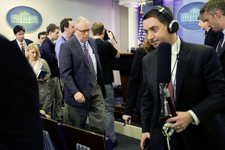 Į Trumpo atstovo spaudos konferenciją neįleista daug žiniasklaidos priemonių