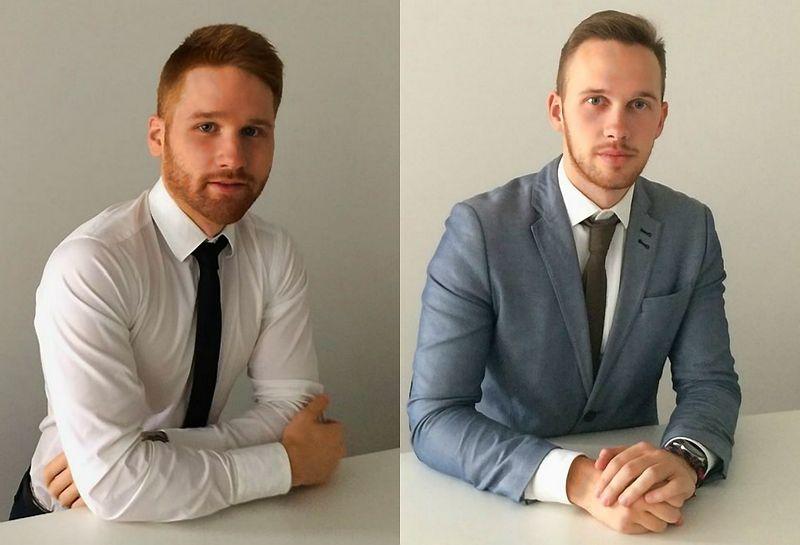 Juras Žymančius ir Andrius Urniežius, teisininkai, nagrinėjantys autonominių technologijų reglamentavimo sklaidos Lietuvoje temą. Autorių nuotr.