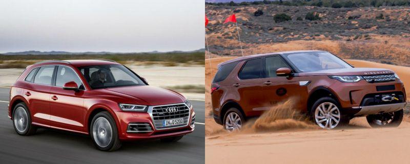 """""""Audi Q5"""" ir """"Land Rover Discovery"""". VŽ koliažas"""