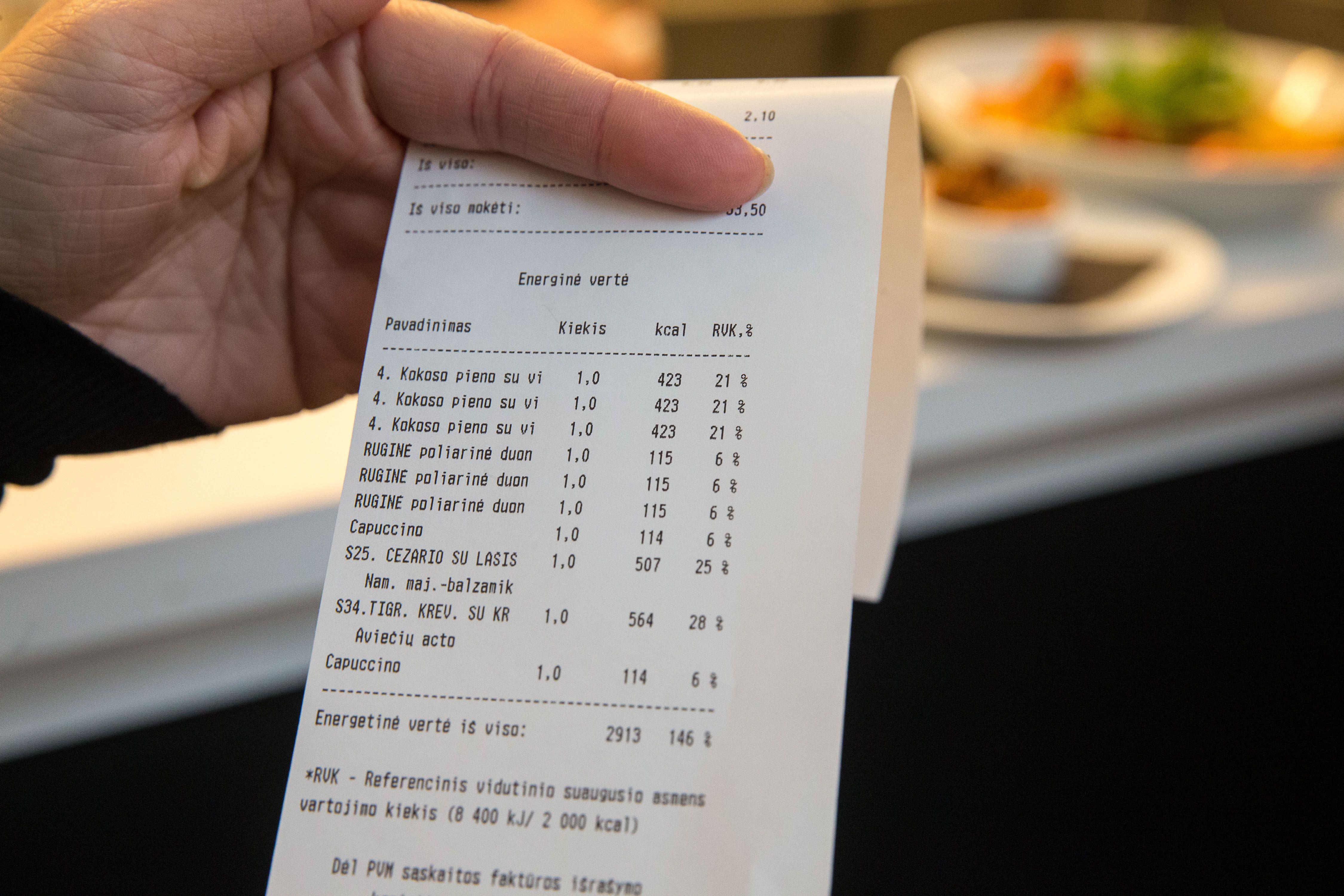 Restorano naujovė – kalorijų kiekis kvite