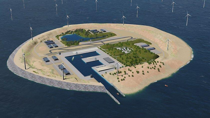 Dirbtinėje saloje – galingas elektros perdavimo centras